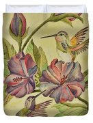 Hummingbirds And Hibiscus Duvet Cover