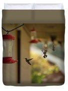 Hummingbirds In Flight Duvet Cover