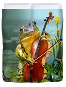 Humorous Scene Frog Playing Cello In Lily Pond Duvet Cover