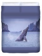 Humpback Whale Breaching Duvet Cover
