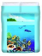 Humpback Whales, Reef Fish #252 Duvet Cover