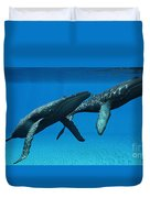 Humpback Whales Surfacing Duvet Cover