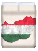 Hungary Map Art With Flag Design Duvet Cover