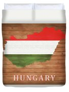 Hungary Rustic Map On Wood Duvet Cover