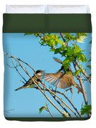Hungry Birds In Tree Close-up Duvet Cover