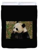 Hungry Chinese Giant Panda Bear Eating Bamboo Duvet Cover