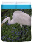 Hungry Great Egret Duvet Cover
