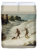 Hunters In The Snow Or The Poachers Duvet Cover by Gustave Courbet