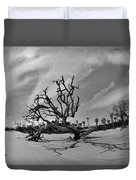 Hunting Island Beach And Driftwood Black And White Duvet Cover