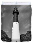 Hunting Island Lighthouse Beaufort Sc Black And White Duvet Cover