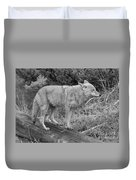 Hunting With Ears Back Black And White Duvet Cover