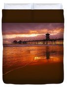 Huntington Beach At Sunset Duvet Cover