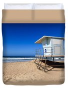 Huntington Beach Lifeguard Tower Photo Duvet Cover by Paul Velgos