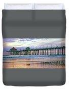 Huntington Beach Pier Panorama Colo Duvet Cover