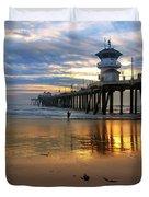 Huntington Beach Pier Sunset Duvet Cover