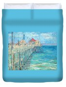 Huntington Beach Pier Duvet Cover