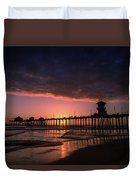 Huntington Pier At Sunset Duvet Cover