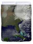Hurricane Sandy Battering The United Duvet Cover