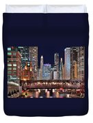 Hustle And Bustle Night Lights In Chicago Duvet Cover