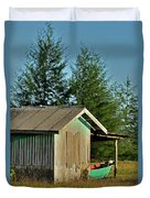 Hut With Green Boat Duvet Cover
