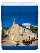 Hvar Old Stone Church And Antic Steps Duvet Cover
