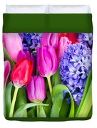 Hyacinth And  Tulip Flowers Duvet Cover