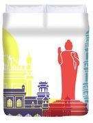 Hyderabad Skyline Pop Duvet Cover