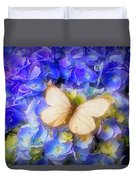 Hydrangea With White Butterfly Duvet Cover