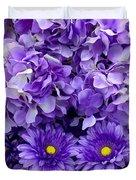 Hydrangeas And Daisies So Purple Duvet Cover