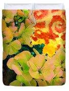 Hydrangeas And Swirls Duvet Cover