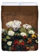 Hydrangeas And Wallflowers And Two Pots Of Pansies Duvet Cover