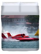 hydroplane racing boat on the Detroit river Duvet Cover