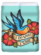 I Do What I Want Vintage Bluebird And Rose Tattoo Duvet Cover
