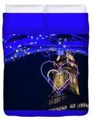 I Heart Boston Ma Christopher Columbus Park Trellis Lit Up For Valentine's Day Duvet Cover