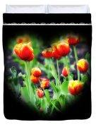 I Heart Tulips - Black Background Duvet Cover