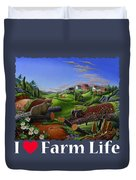 I Love Farm Life T Shirt - Spring Groundhog - Country Farm Landscape 2 Duvet Cover