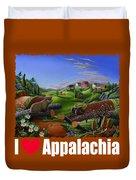 I Love Appalachia T Shirt - Spring Groundhog - Country Farm Landscape Duvet Cover