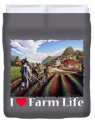 I Love Farm Life Shirt - Farmer Cultivating Peas - Rural Farm Landscape Duvet Cover