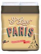 I Love Paris Duvet Cover