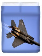 Iaf F15i Fighter Jet On Blue Sky Duvet Cover