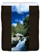 Iao Needle And Creek Duvet Cover
