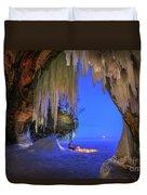 Ice Cave Setting Full Moon Serenity Duvet Cover