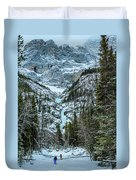 Ice Climbers Approaching Professor Falls Rated Wi4 In Banff Nati Duvet Cover