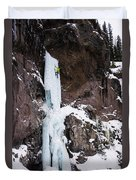Ice Climbing The Scepter In Hyalite Canyon Duvet Cover