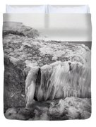 Ice Covered Rocks  Duvet Cover