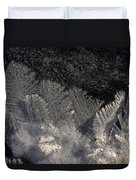 Ice Crystals Form Feather Shapes On Ice Duvet Cover