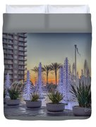 Ice Cycles At Sunset Duvet Cover