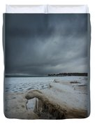 Ice Formations At Cawaja Beach Duvet Cover