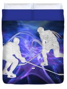 Ice Hockey Players Fighting For The Puck Duvet Cover