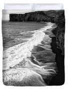 Iceland Coast Dyrholaey Black And White Duvet Cover